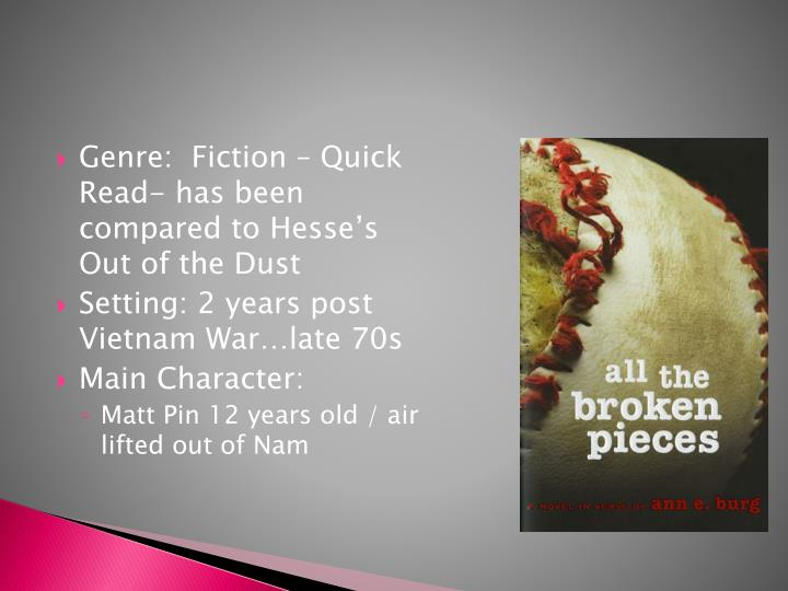 Genre:  Fiction – Quick Read- has been compared to Hesse's Out of the Dust