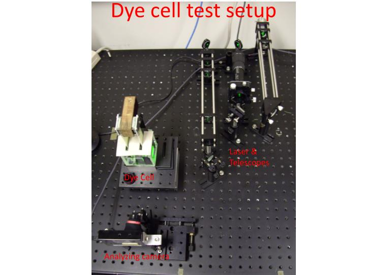 Dye cell test setup