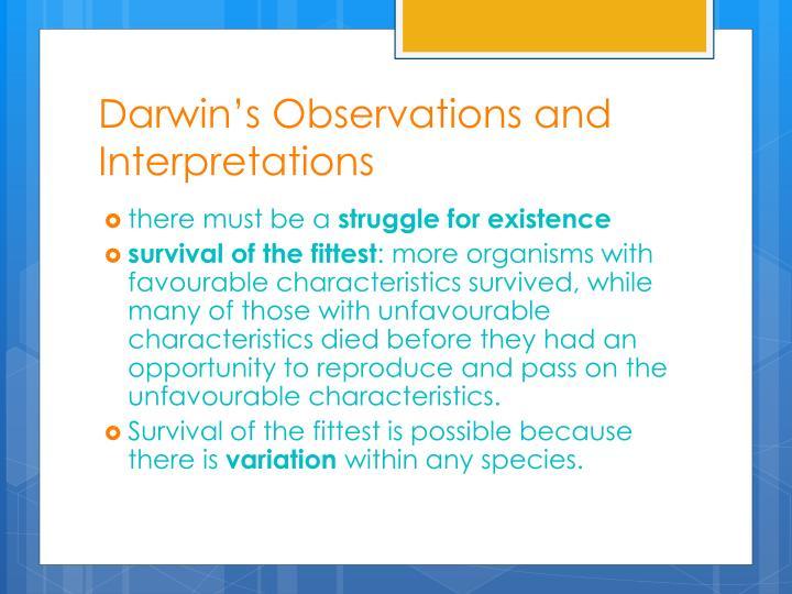 Darwin's Observations and Interpretations