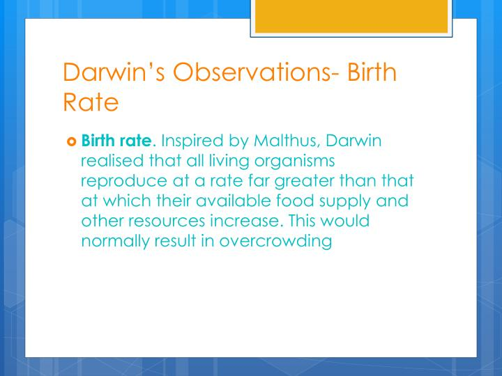 Darwin's Observations- Birth Rate