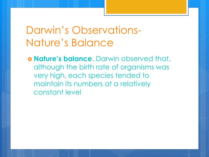 Darwin's Observations- Nature's Balance