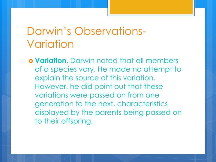 Darwin's Observations- Variation