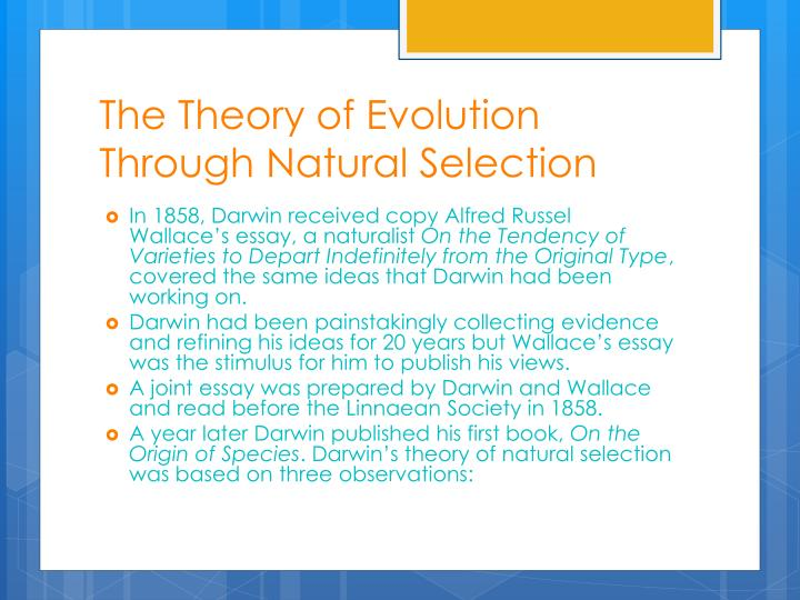 The Theory of Evolution Through Natural Selection