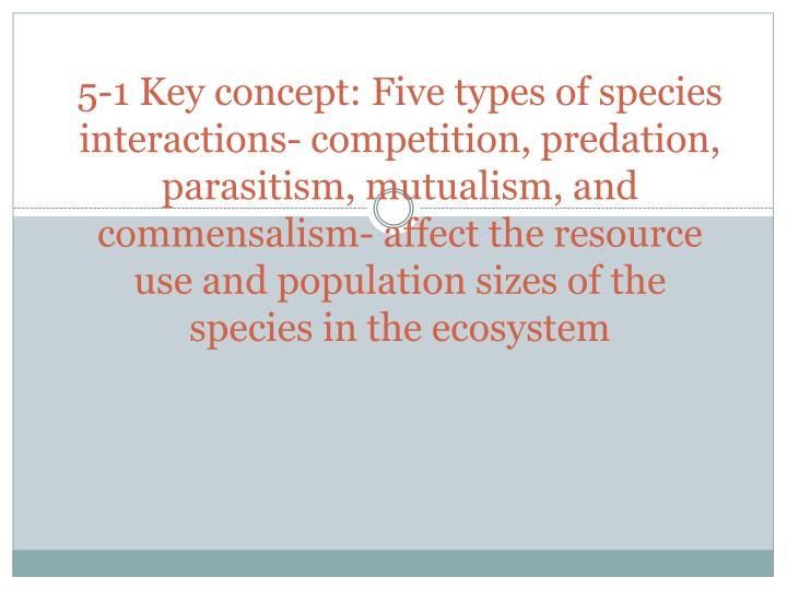 5-1 Key concept: Five types of species interactions- competition, predation, parasitism, mutualism, and commensalism- affect the resource use and population sizes of the species in the ecosystem