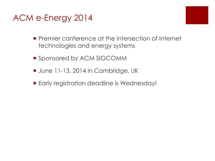 ACM e-Energy 2014