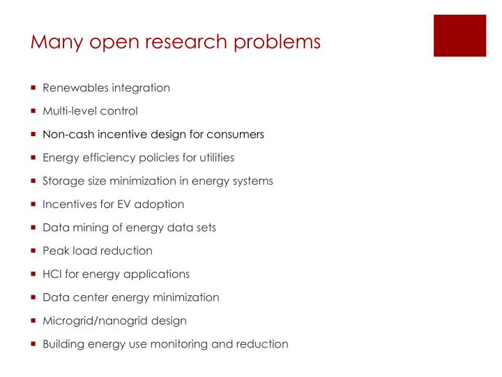 Many open research problems