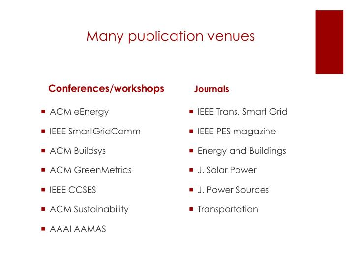 Many publication venues