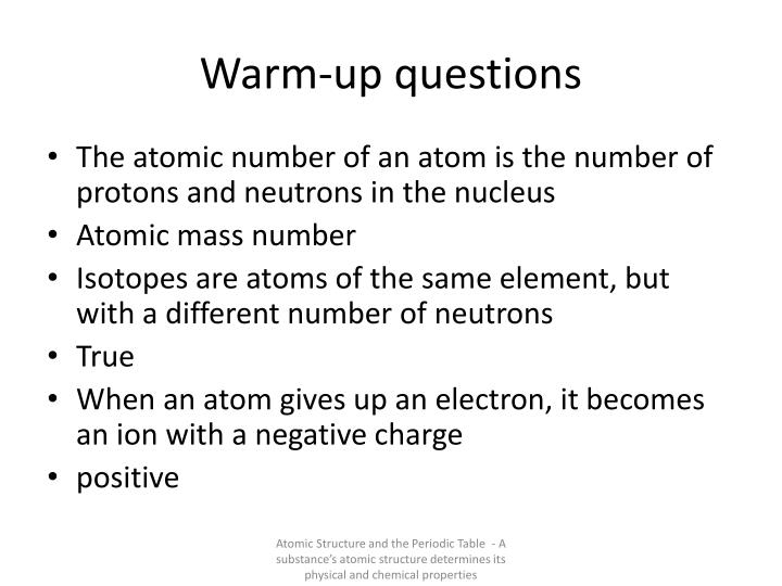 Warm-up questions