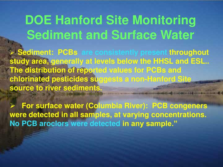 DOE Hanford Site Monitoring Sediment and Surface Water