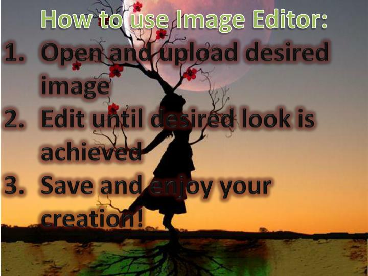 How to use Image Editor: