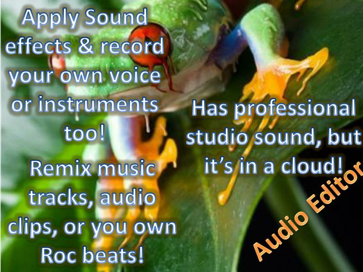 Apply Sound effects & record your own voice or instruments too!