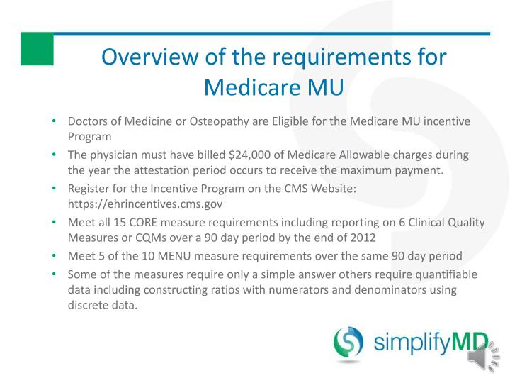 Overview of the requirements for