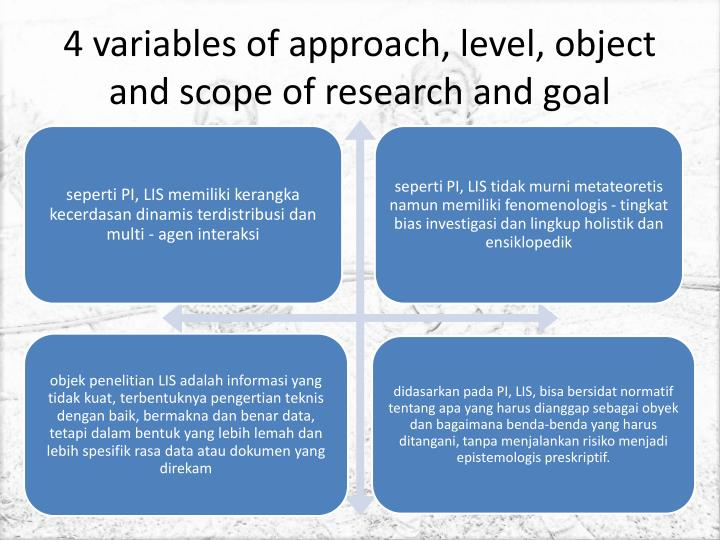 4 variables of approach, level, object and scope of research and goal