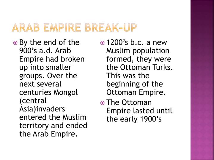 Arab Empire Break-Up