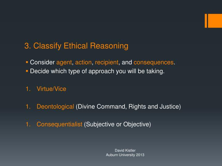 3. Classify Ethical Reasoning
