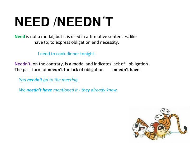 NEED /NEEDN´T