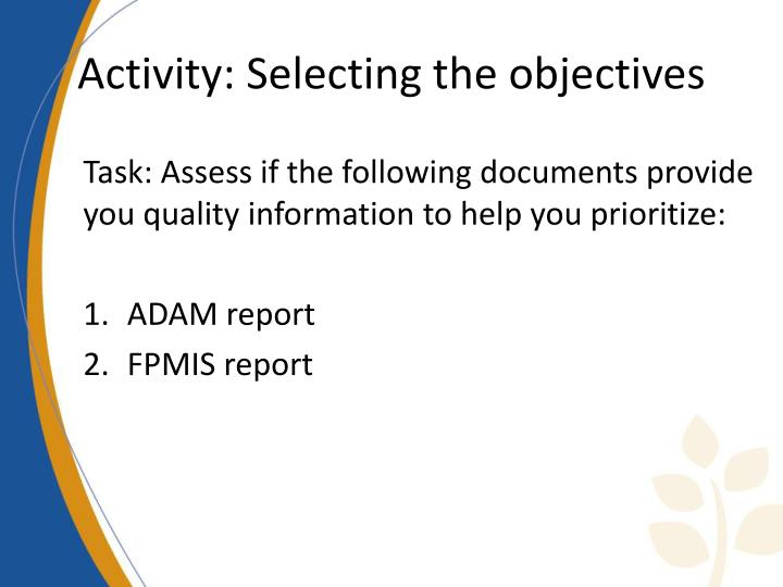 Activity: Selecting the objectives