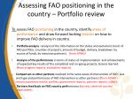 assessing fao positioning in the country portfolio review