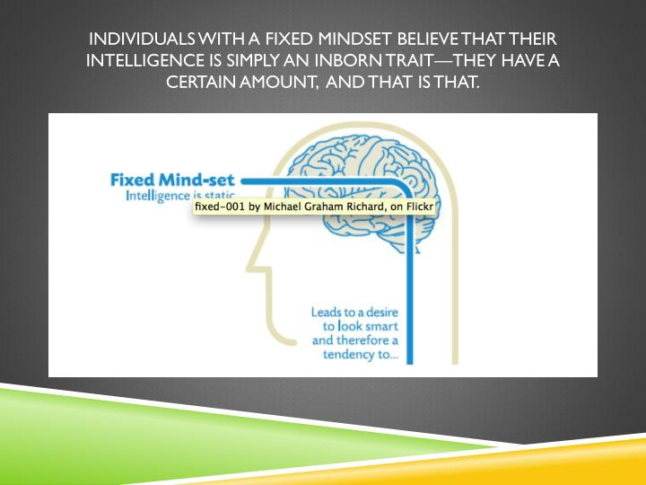 Individuals with a fixed mindset believe that their intelligence is simply an inborn trait—they have a certain amount,  and that is that.
