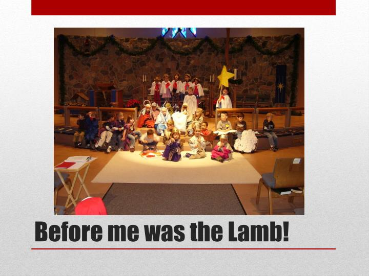 Before me was the Lamb!