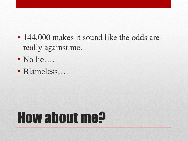 144,000 makes it sound like the odds are really against me.