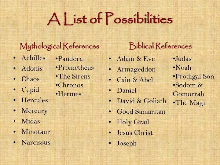 A List of Possibilities