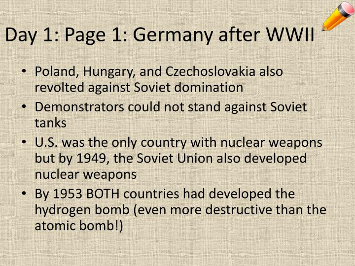 Day 1: Page 1: Germany after WWII