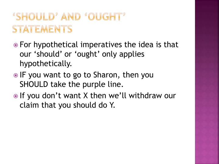 'should' and 'ought' statements