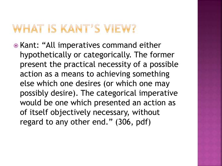 What is kant s view