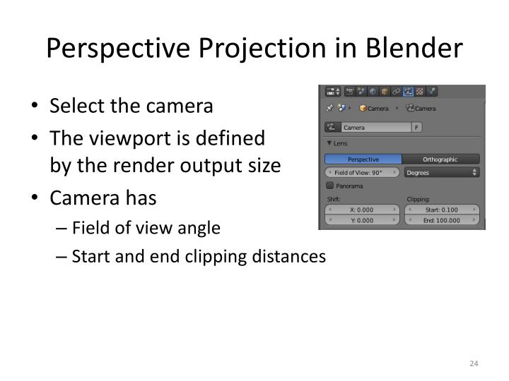 Perspective Projection in Blender