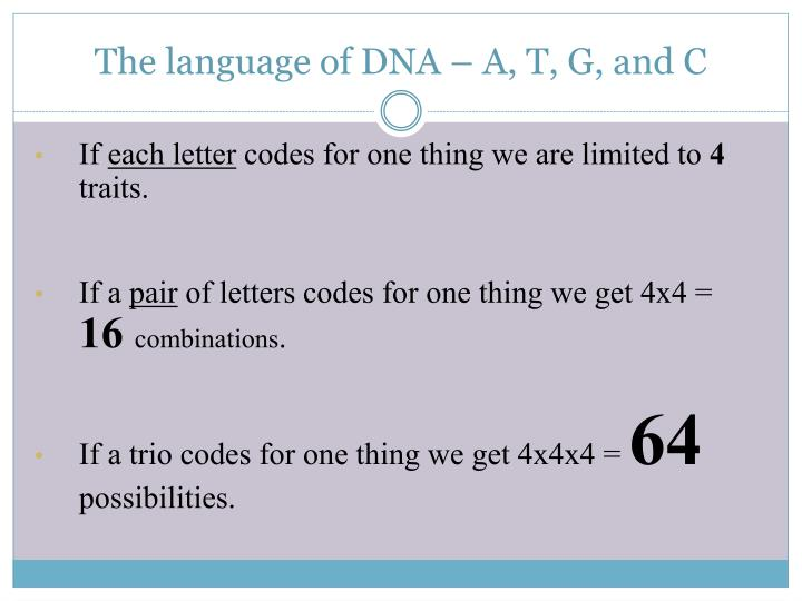 The language of DNA – A, T, G, and C