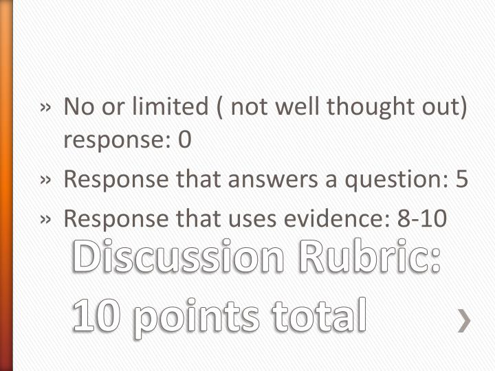 Discussion Rubric: 10 points total