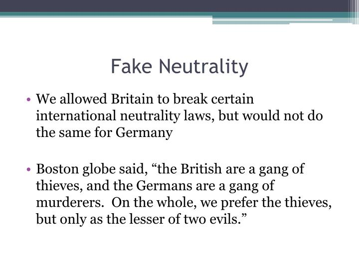 Fake Neutrality