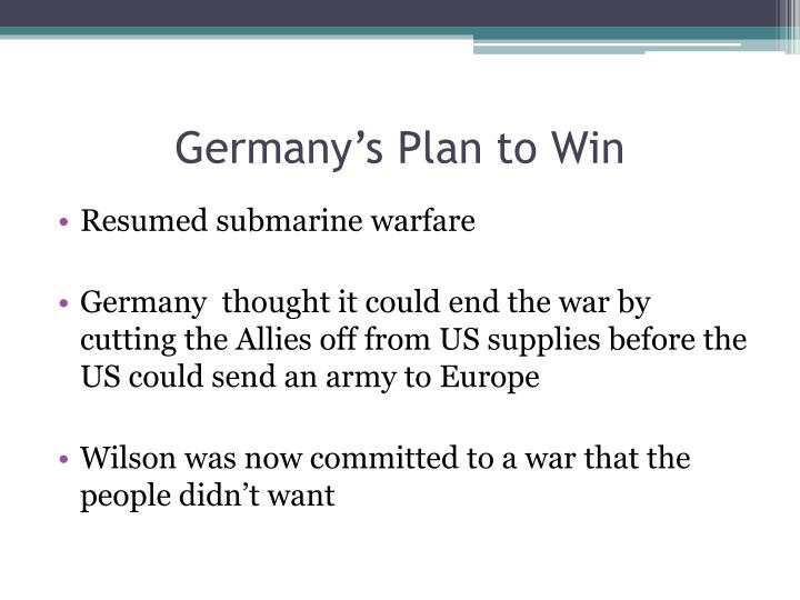 Germany's Plan to Win
