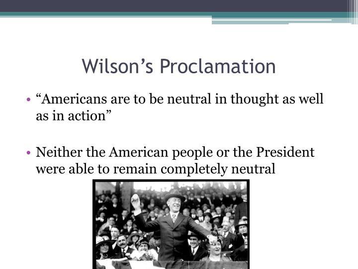 Wilson's Proclamation