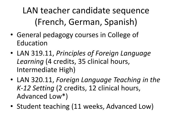 LAN teacher candidate sequence (French, German, Spanish)