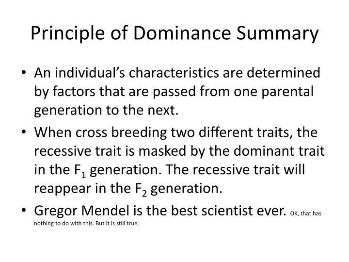 Principle of Dominance Summary