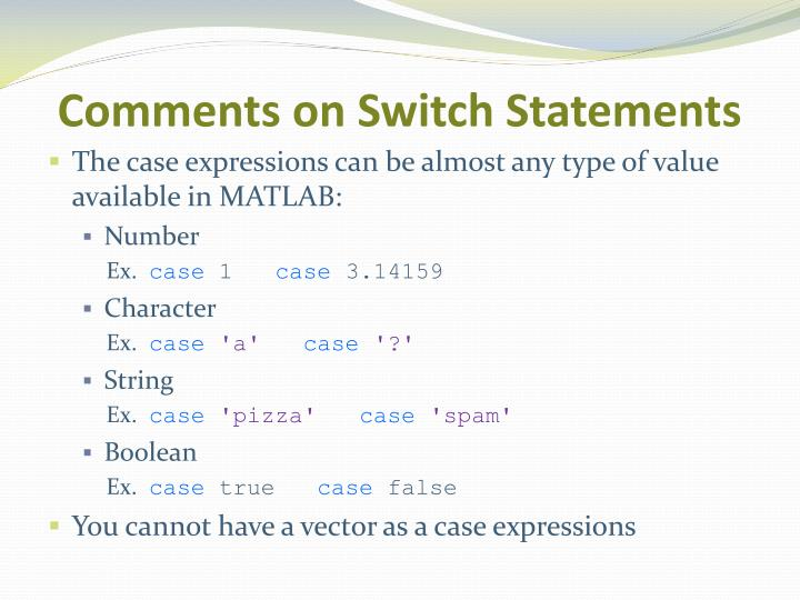 Comments on Switch Statements