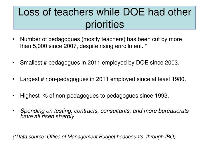 Loss of teachers while DOE had other priorities