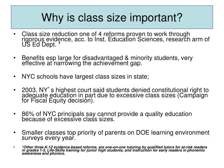 Why is class size important