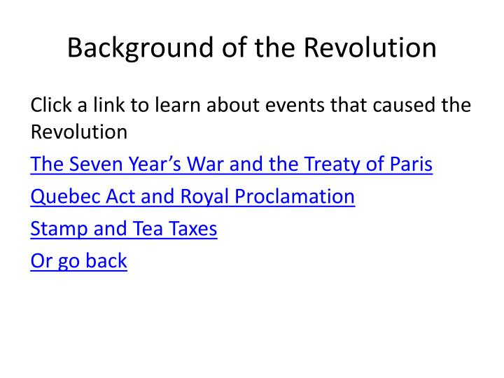 Background of the Revolution
