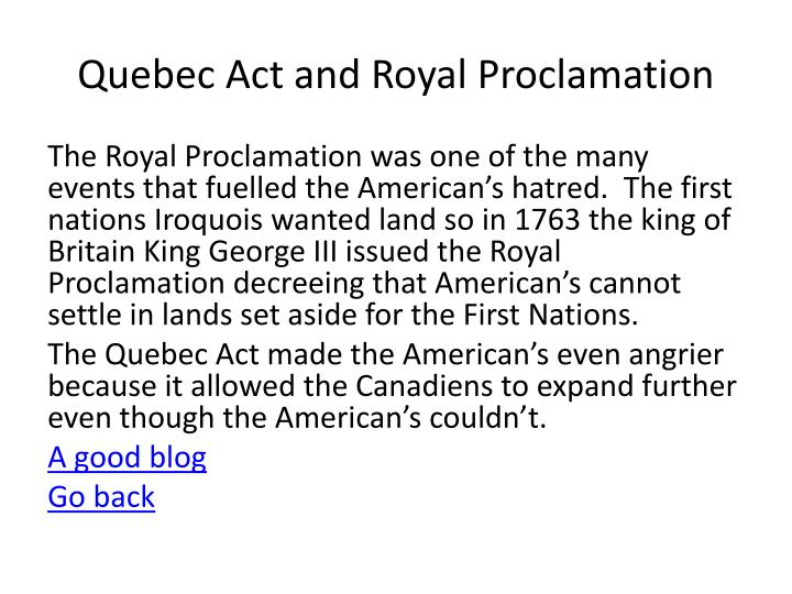 Quebec Act and Royal Proclamation