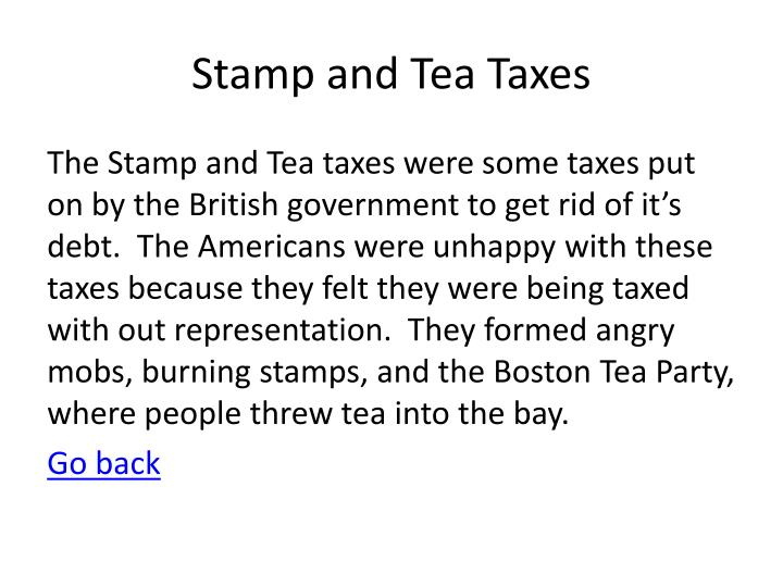 Stamp and Tea Taxes