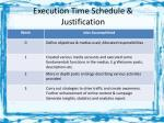 execution time schedule justification
