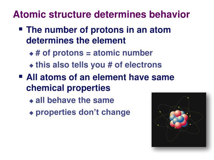 Atomic structure determines behavior