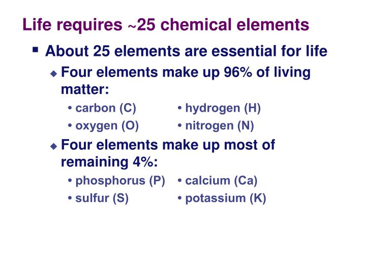 Life requires ~25 chemical elements