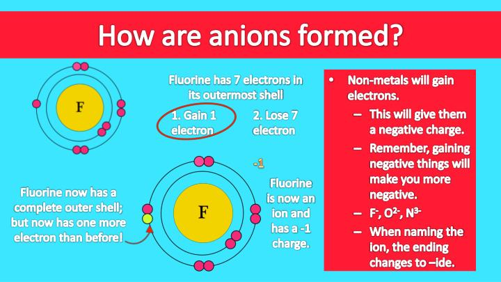 How are anions formed?