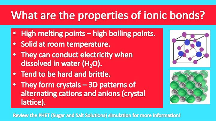 What are the properties of ionic bonds?