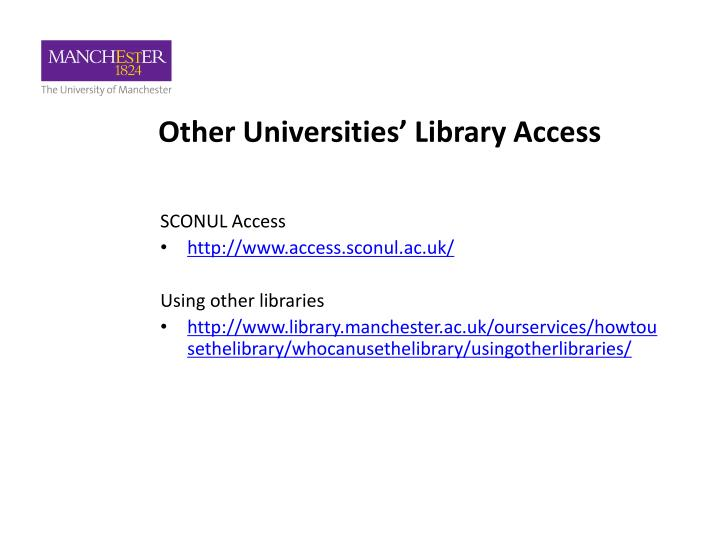 Other Universities' Library Access