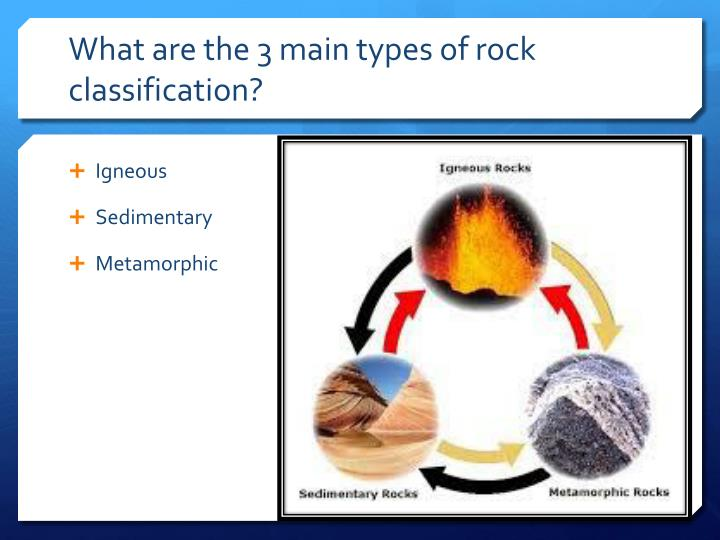 What are the 3 main types of rock classification?